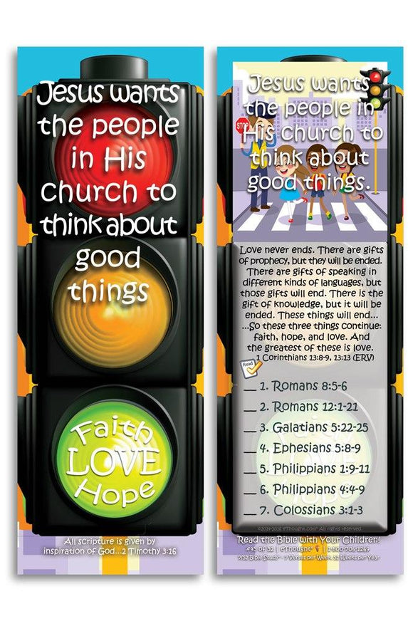 Bible Cards & Bookmarks - Jesus Wants His Church To Think About Good Things - Pack Of 25 Cards