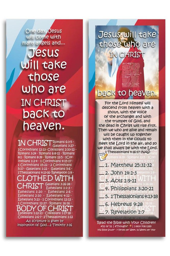 Bible Cards & Bookmarks - Jesus Will Take Them To Heaven - Pack Of 25 Cards