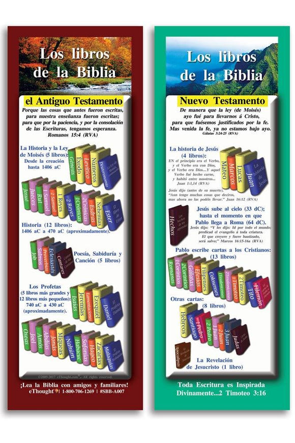 Bible Cards & Bookmarks - Los Libros De La Biblia - Pack Of 25 Cards