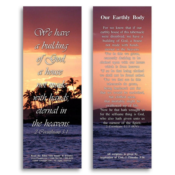 Bible Cards & Bookmarks - Our Earthly Body - Pack Of 25 Cards - 2x6