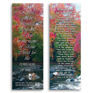 "Bible Cards & Bookmarks - Repent And Be Baptized - Pack Of 25 Cards - 2""x6"""