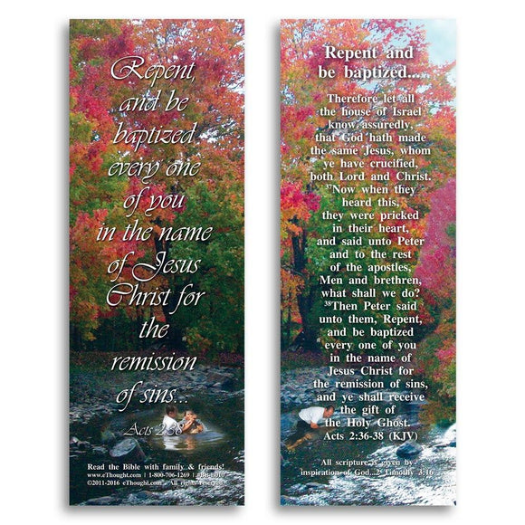Bible Cards & Bookmarks - Repent And Be Baptized - Pack Of 25 Cards - 2