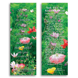 "Bible Cards & Bookmarks - Seek First The Kingdom Of God - Pack Of 25 Cards - 2""x6"""