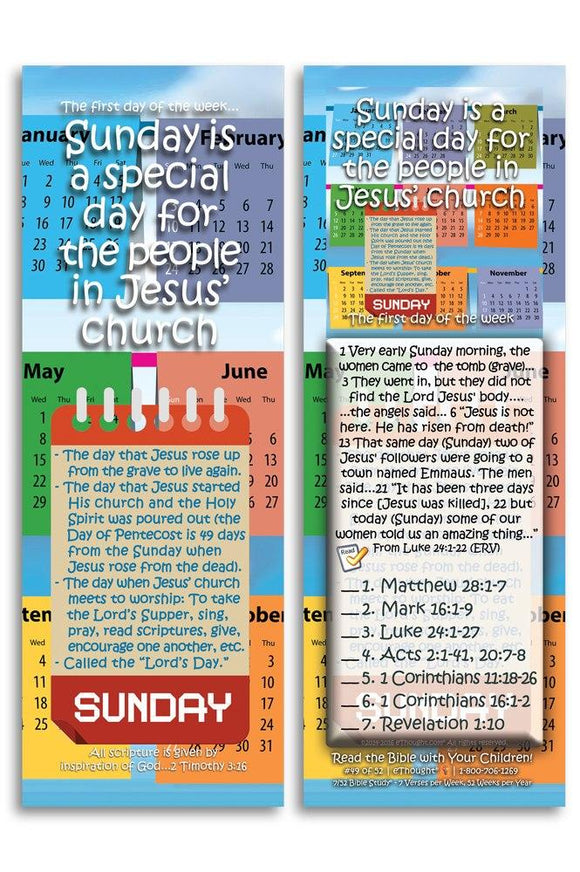 Bible Cards & Bookmarks - Sunday Is A Special Day For Jesus' Church - Pack Of 25 Cards