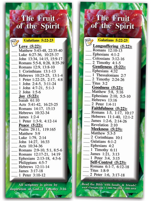 Bible Cards & Bookmarks - The Fruit Of The Spirit - Pack Of 25 Cards