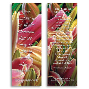 "Bible Cards & Bookmarks - The God Of All Comfort - Pack Of 25 Cards - 2""x6"""