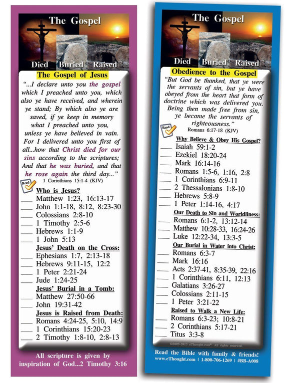 Bible Cards & Bookmarks - The Gospel - Pack Of 25 Cards