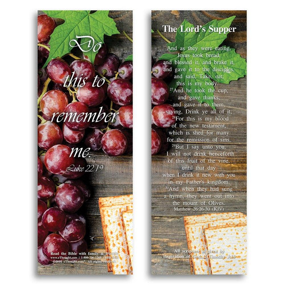 Bible Cards & Bookmarks - The Lord's Supper - Pack Of 25 Cards - 2