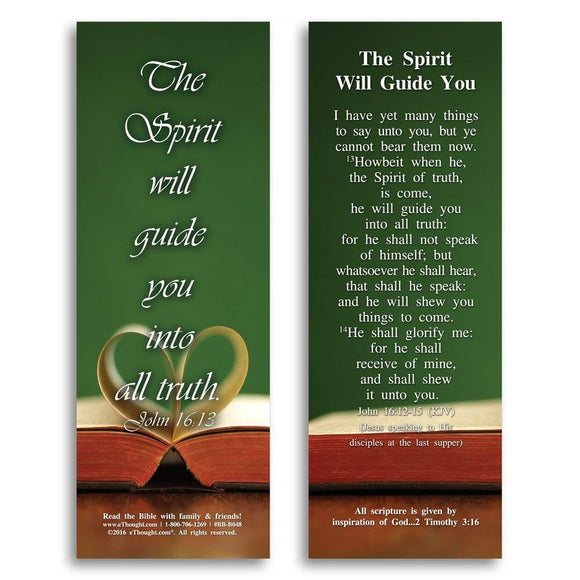 Bible Cards & Bookmarks - The Spirit Will Guide You - Pack Of 25 Cards - 2x6