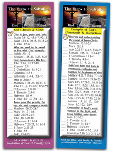 Bible Cards & Bookmarks - The Steps To Salvation - Pack Of 25 Cards