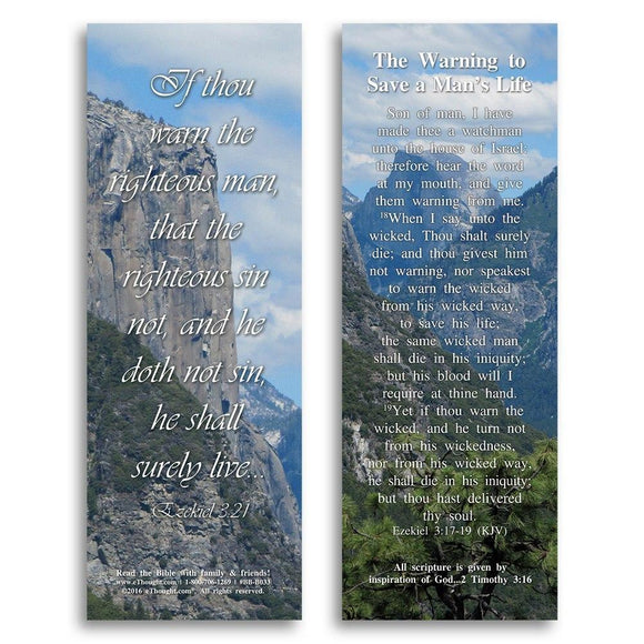 Bible Cards & Bookmarks - The Warning To Save A Man's Life - Pack Of 25 Cards - 2x6