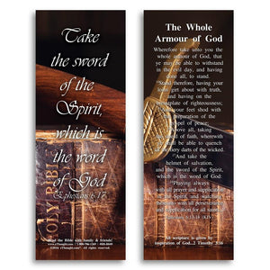 Bible Cards & Bookmarks - The Whole Armour Of God - Pack Of 25 Cards - 2x6