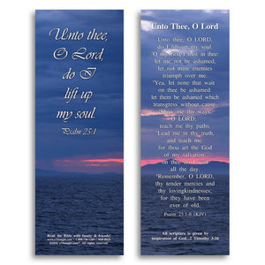 Bible Cards & Bookmarks - Unto Thee O Lord - Pack Of 25 Cards - 2x6