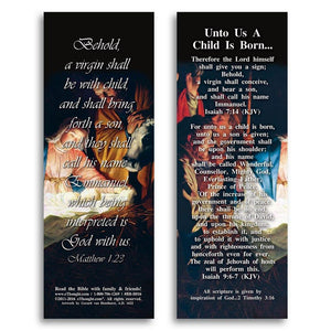 "Bible Cards & Bookmarks - Unto Us A Child Is Born - Pack Of 25 Cards - 2""x6"""