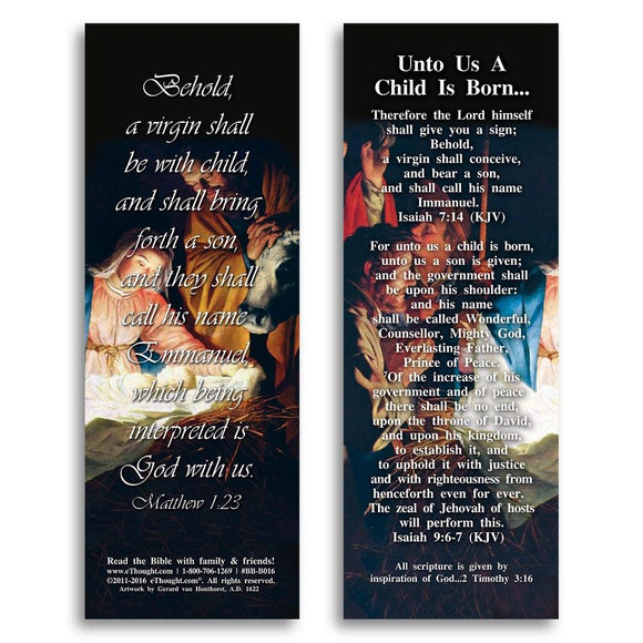 Bible Cards & Bookmarks - Unto Us A Child Is Born - Pack Of 25 Cards - 2
