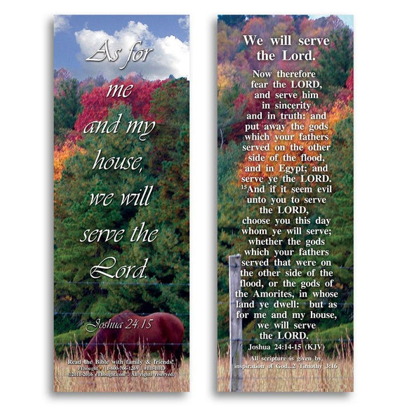 Bible Cards & Bookmarks - We Will Serve The Lord - Pack Of 25 Cards - 2