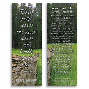 Bible Cards & Bookmarks - What Does The Lord Require - Pack Of 25 Cards - 2x6