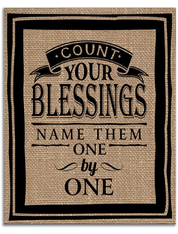 Signs & Decor - Burlap Print - Count Your Blessings, Name Them One By One