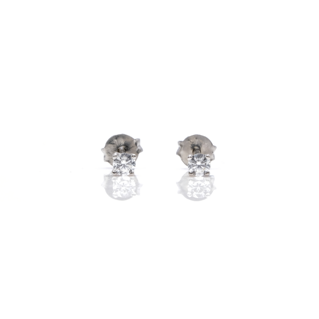 14K White Gold 2MM Tiny Diamond Earrings