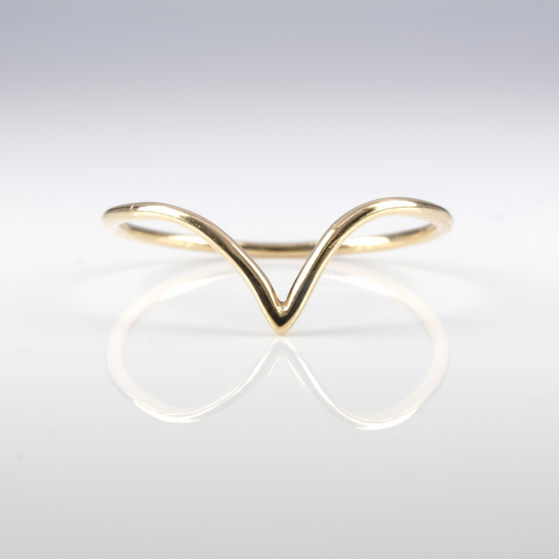 14K Yellow Gold Chevron Ring