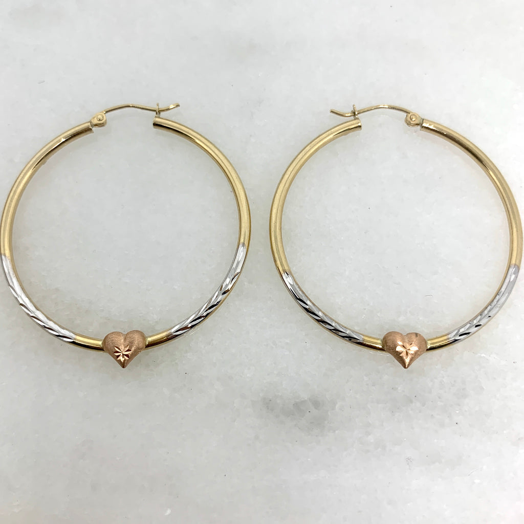 "10K Tri Color Gold 1.75"" Heart Hoops"
