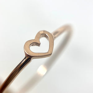 14K Rose Gold Open Heart Cut Out Ring
