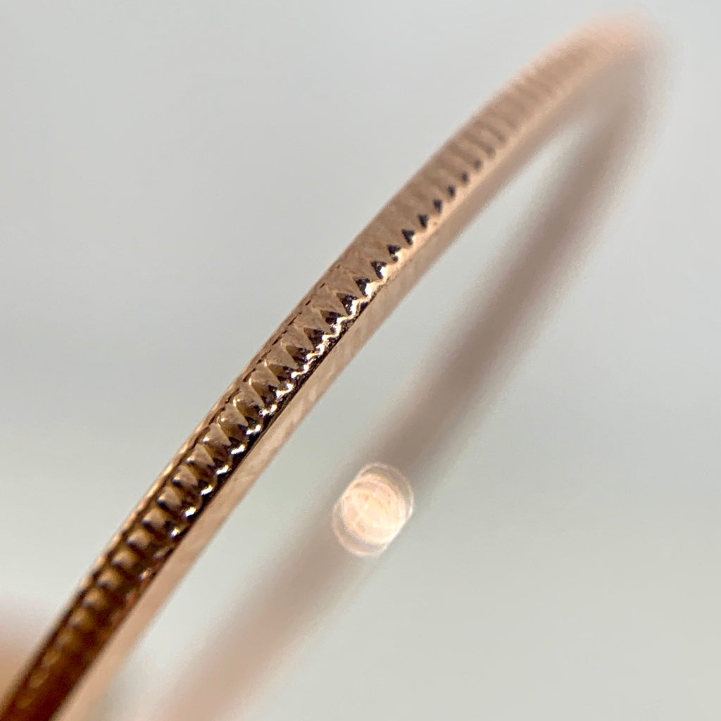 10K Rose Gold Milgrain Stackable Band