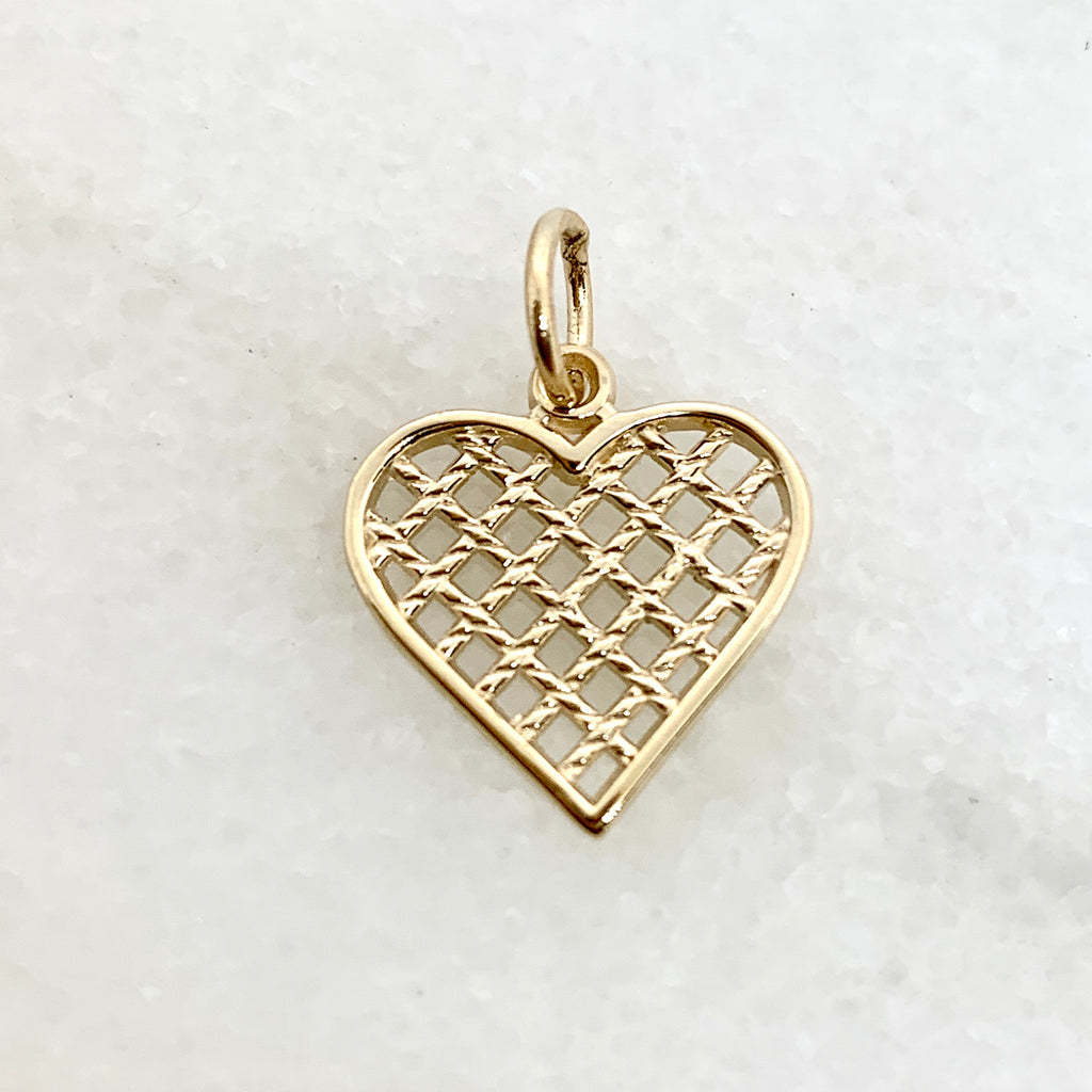 10K Yellow Gold Lattice Heart Charm