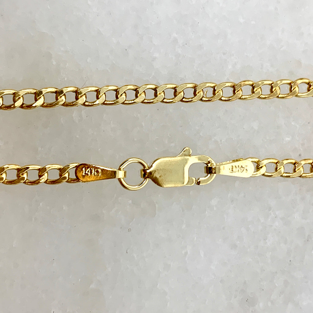 "14K Yellow Gold 2.5mm Curb Link 7"" Bracelet"