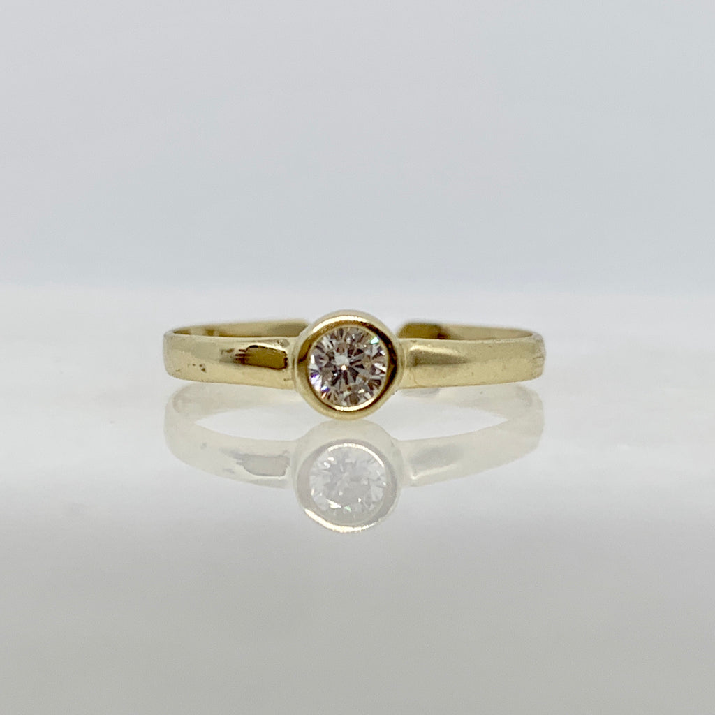 10K Yellow Gold CZ Bezel Toe Ring