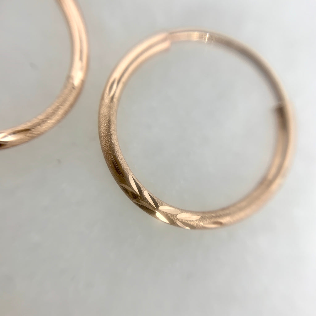 14K Rose Gold 14mm Diamond Cut Hoop Earrings