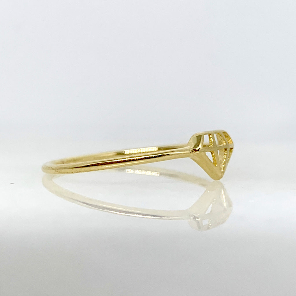 14K Yellow Gold Diamond Cut Out Ring