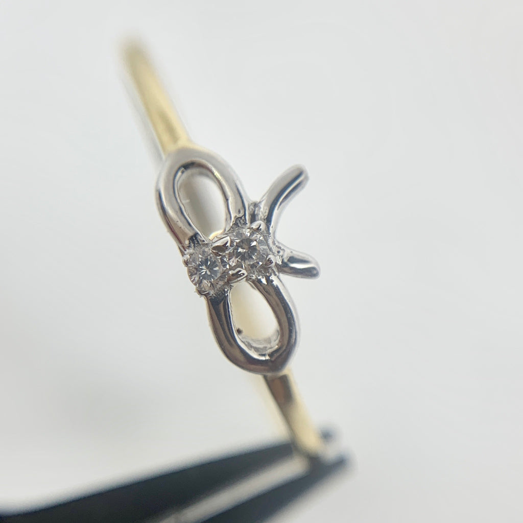 14K Yellow Gold Bow CZ Ring