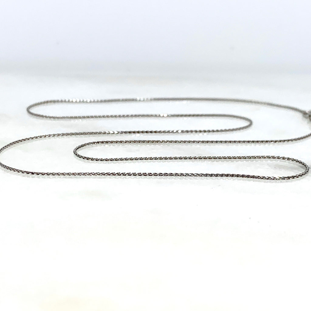 "10K White Gold 18"" Wheat Link Necklace"