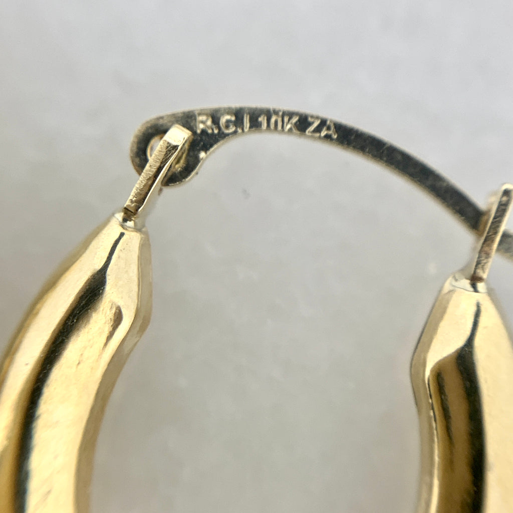 10K Yellow Gold Polished Oval Hoop Earrings