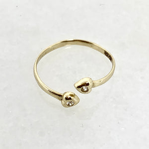 10K Yellow Gold Adjustable Heart CZ Ring