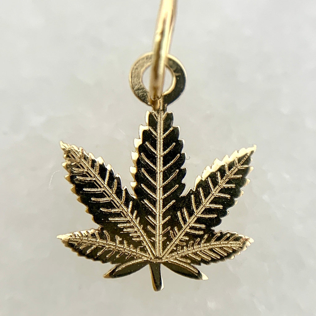 "14K Yellow Gold Small 12mm(.5"") Cannabis Charm"