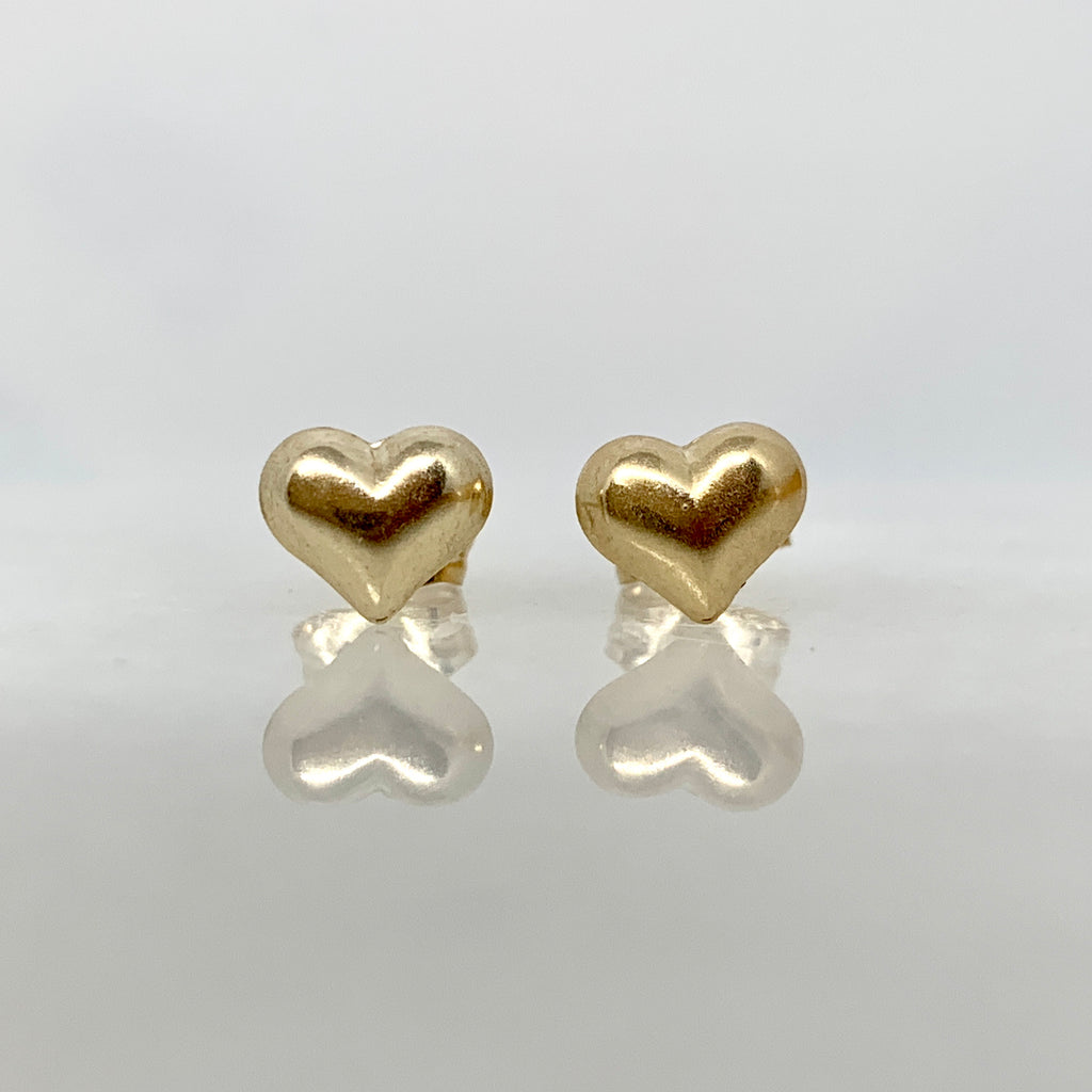 14K Yellow Gold 6mm Puffed Heart Earrings