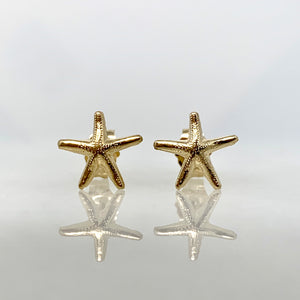 14K Yellow Gold 9mm Starfish Stud Earrings