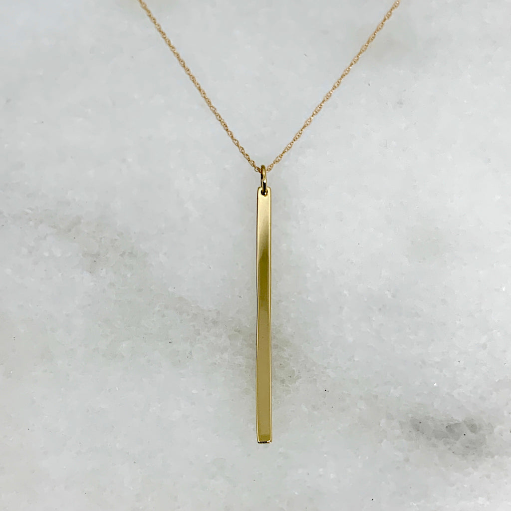 "14K Yellow Gold 20"" Vertical Line Necklace"