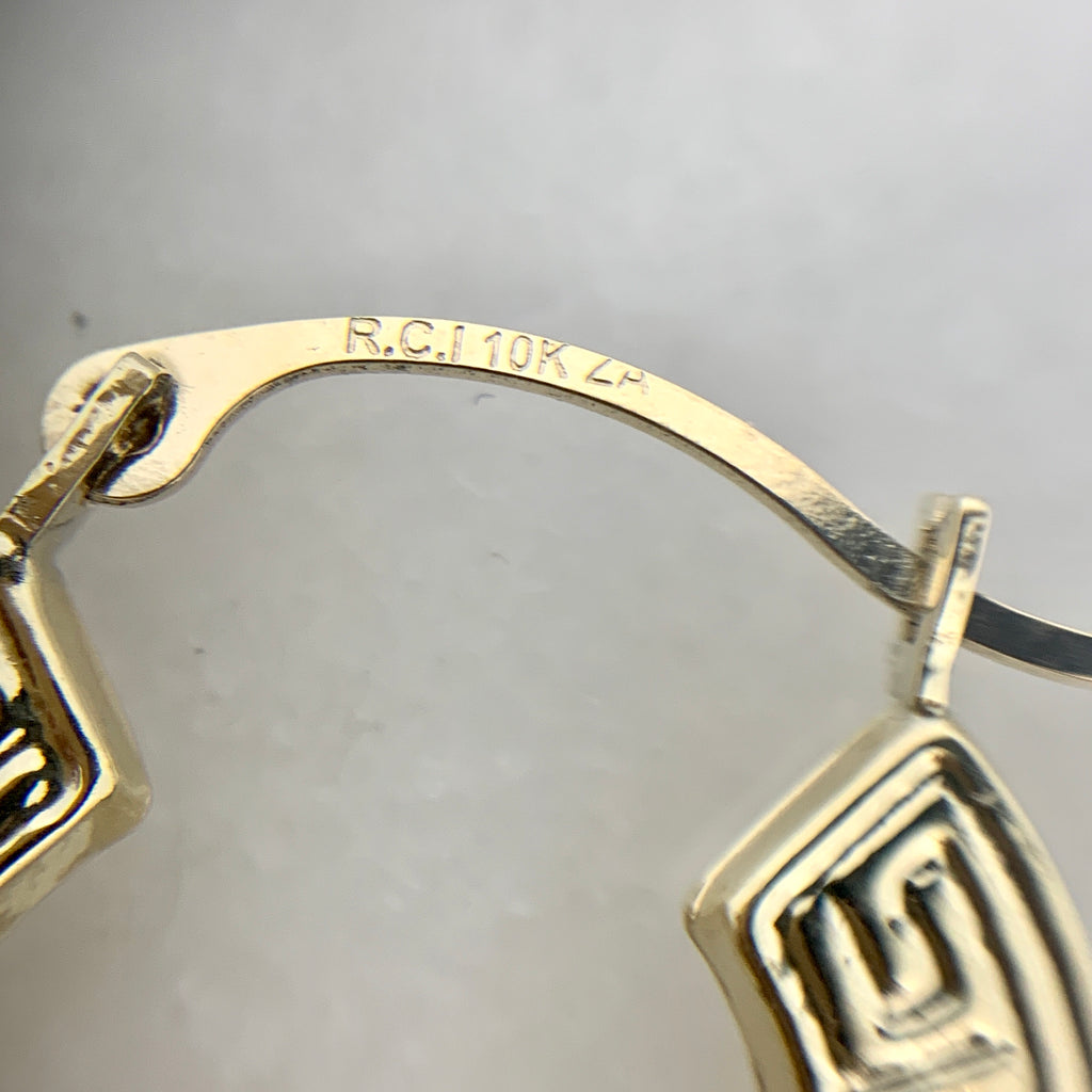 "10K Yellow Gold 3/4"" Greek Key Hoop Earrings"