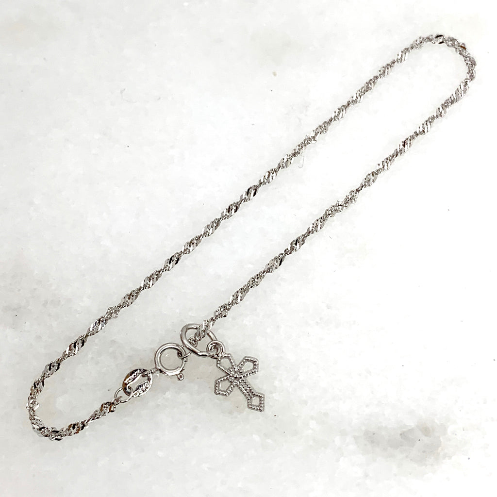 10K White Gold Singapore Bracelet w/Cross Charm