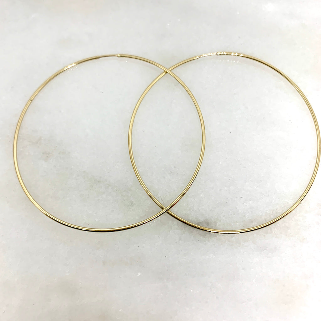 10K Yellow Gold 64mm Endless Hoop Earring