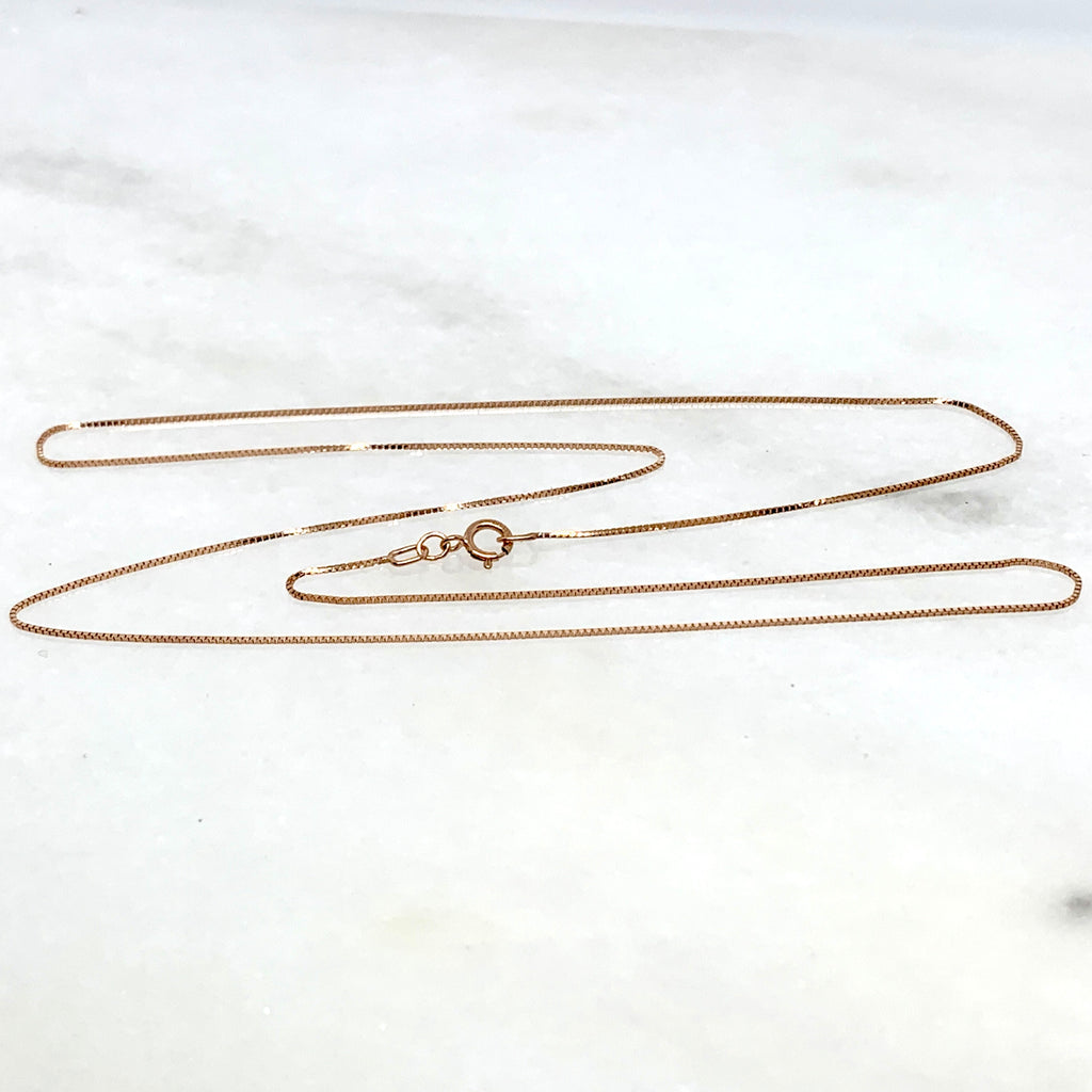 "10K Rose Gold 18"" Box Chain Necklace"