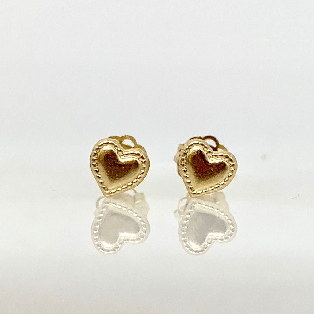 14K Yellow Gold 5mm Beaded Heart Earrings