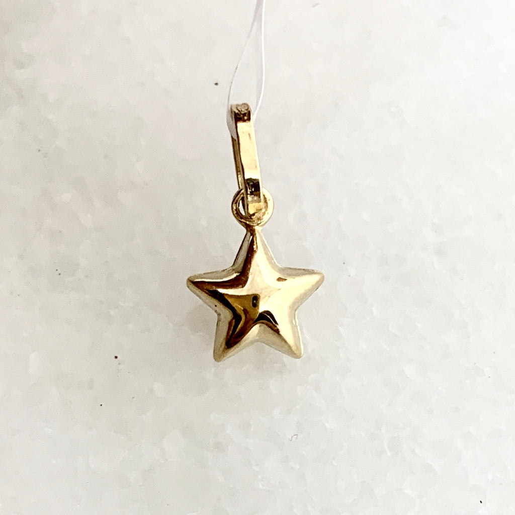 14K Yellow Gold Puffed Star Charm