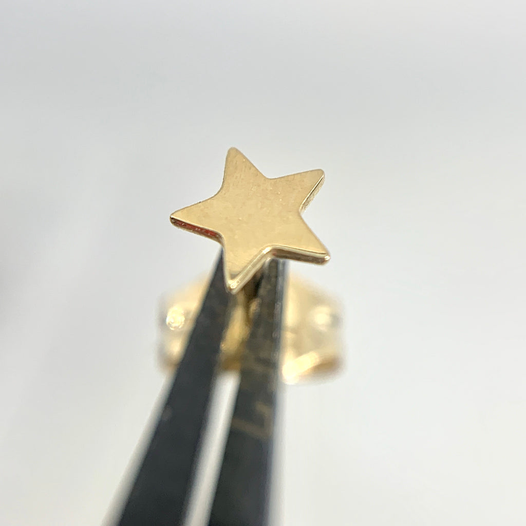 14K Yellow Gold 4mm Tiny Star Earrings