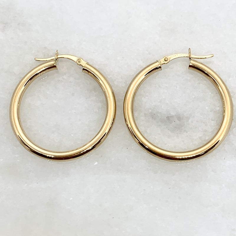 10K Yellow Gold 3mm Polished Hoop Earrings