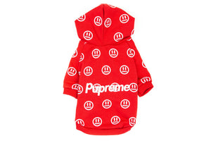 Pupreme Smiley Hoodie: Red