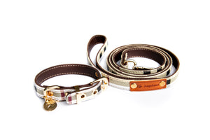 Furberry Check Collar & Leash Set: White